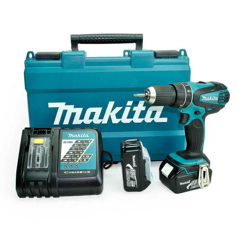 Taladro-Atornillador C/Percusión 13 mm - 2 vel variable (max Torque 50 Nm) 1,6 kg Makita DHP456RFE