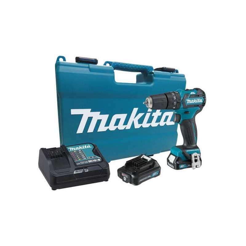 Taladro Percutor 12V 2.0Ah BL Motor (2 baterías + cagador) Makita HP332DWAE