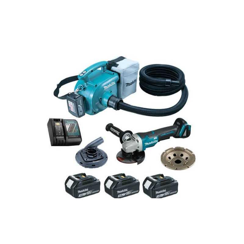 Esmeril Angular 18V  DGA455Z + 3 baterías 18V 3.0 Ah + Cargador + Kit Aspiración DVC350-1