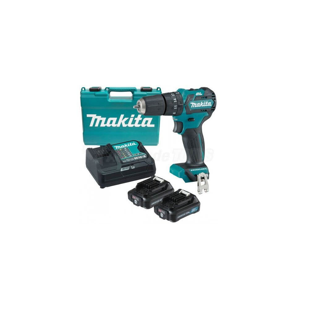 Taladro Atornillador Inalámbrico BL Motor 12V 2.0Ah (2 baterías + cagador) Makita DF332DWAE