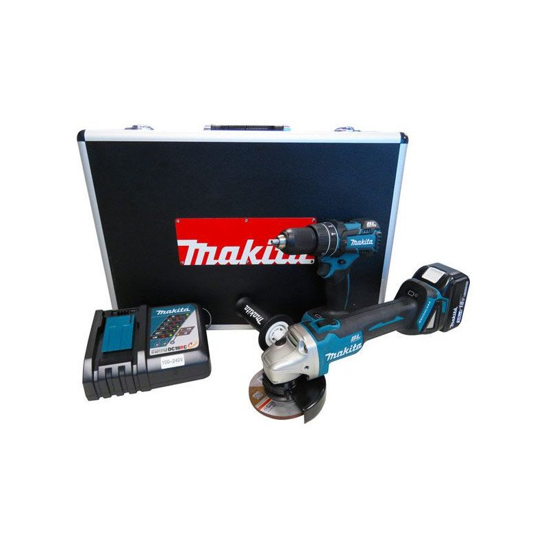 """Kit Taladro Atonillador DHP480 + Esmeril 4-1/2""""  DGA454 + 2 Baterías 18V 3.0Ah + Cargador rápido Makita DLX2163X"""