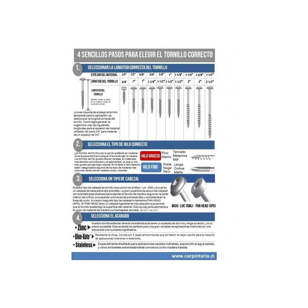 Tornillos de zinc para orificios ocultos, hilo grueso (1 1/2'') 100 uni. Kreg SML-C150-100