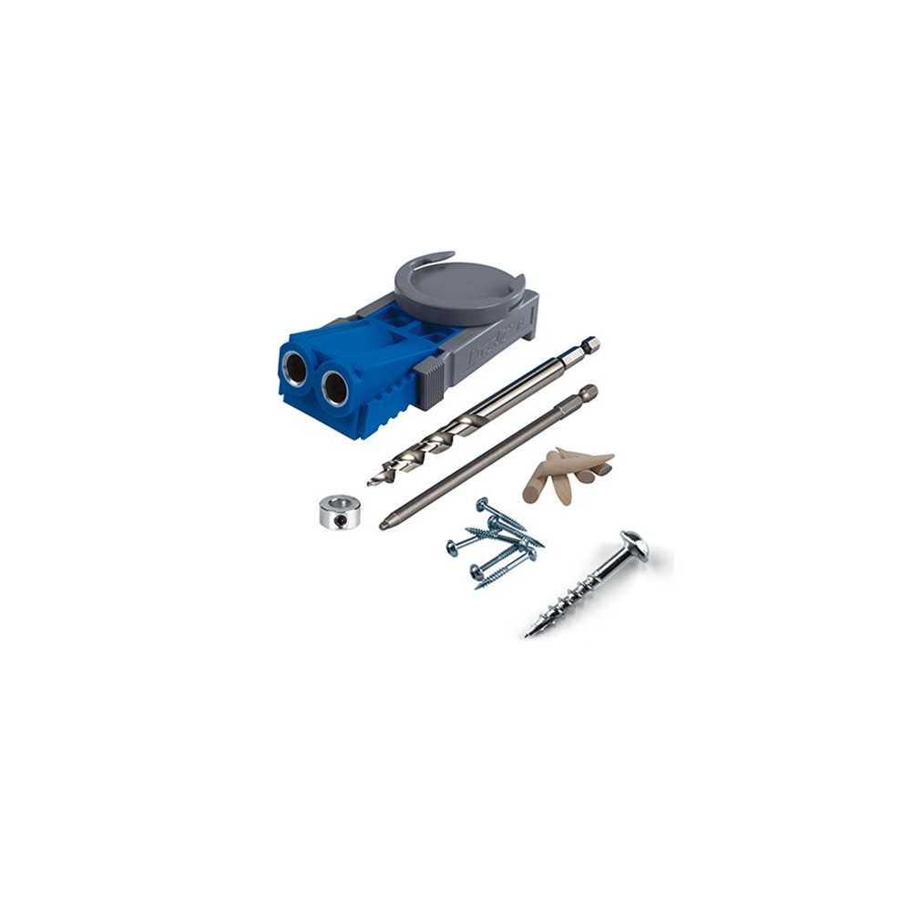 """Kit Carpintería Guía de perforación R3 y Caja de 100 Tornillos grueso 1 ¼"""". Kreg Kit 4"""