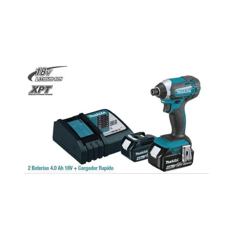 """Atornillador de Impacto Inalambrico Eje Hex 14"""" 18V + 2 Baterias y Cargador Makita DTD152RME"""
