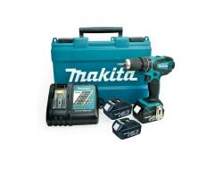 Taladro-Atornillador C/Percusión 13 mm - 2 vel variable (max Torque 50 Nm) 1,6 kg + 3 Baterías 18V + Cargador Makita DHP456RFE3