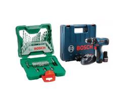 Taladro Percusión/Atornillador (2 baterías+ Cargador) Bosch GSB 1200-2-LI + Set Puntas y Brocas 33 piezas