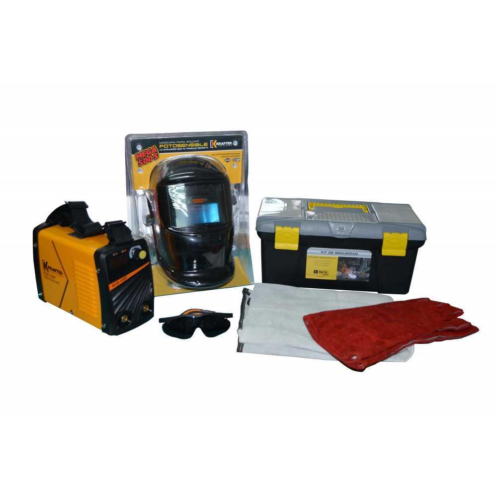 Soldadora Inverter 120 Amp + Kit de Seguridad Krafter ECN 120P