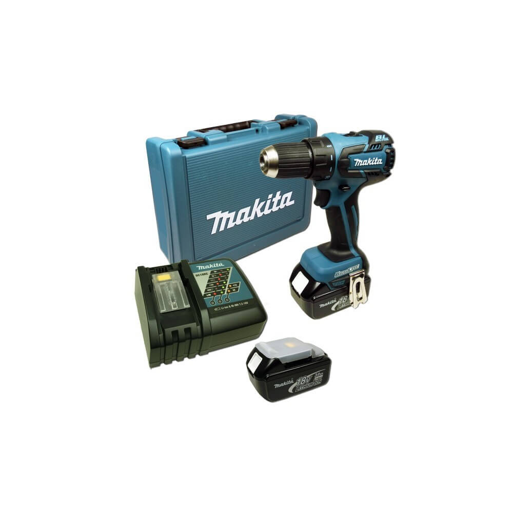 Taladro-Atornillador 13 mm- 2 vel Variables (max Torque 45 Nm) 1,5 kg Makita DDF459RFE