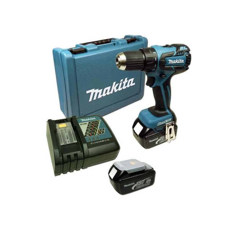 Taladro Atornillador Inalámbrico 13 mm- 2 vel Variables (max Torque 45 Nm) 1,5 kg Makita DDF459RFE