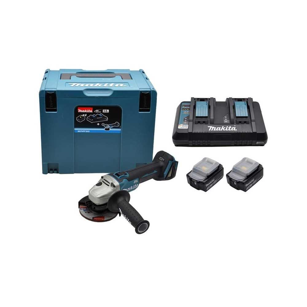 """Esmeril Angular 4-1/2"""" 18V BL Motor DGA454 + 2 baterías 18V 5.0 Ah + Cargador Doble  Makita 198822-2"""