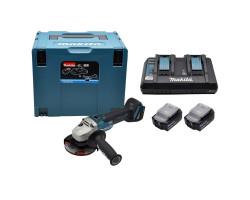 """Esmeril Angular 4-1/2"""" 18V BL Motor DGA454 + 2 baterías 18V 3.0 Ah + Cargador Doble Makita 198822-2"""