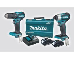 Kit Taladro Percutor DHP483Z + Atornilldor de Impacto DTD155 Makita DLX2221YX1
