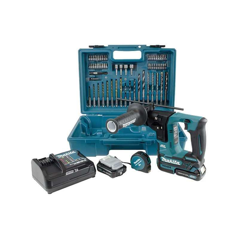 Rotomartillo SDS-PLUS BL Motor 16 mm + 2 Baterías 12V 2.0 Ah + Cargador Rápido + Accesorios Makita HR166DSAE1