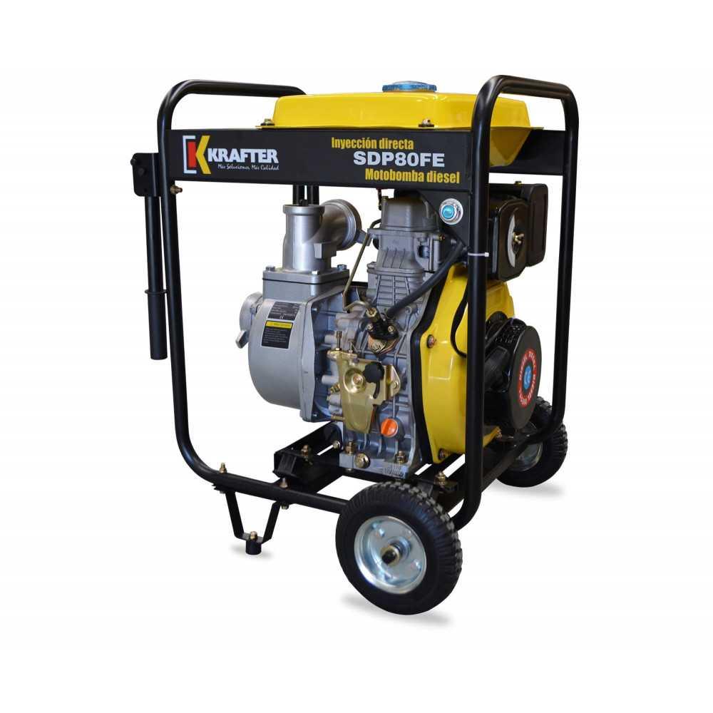 """Motobomba de alta presión 3""""x3"""" Diesel Partida Manual Krafter SDP80FE-Alta Presión"""