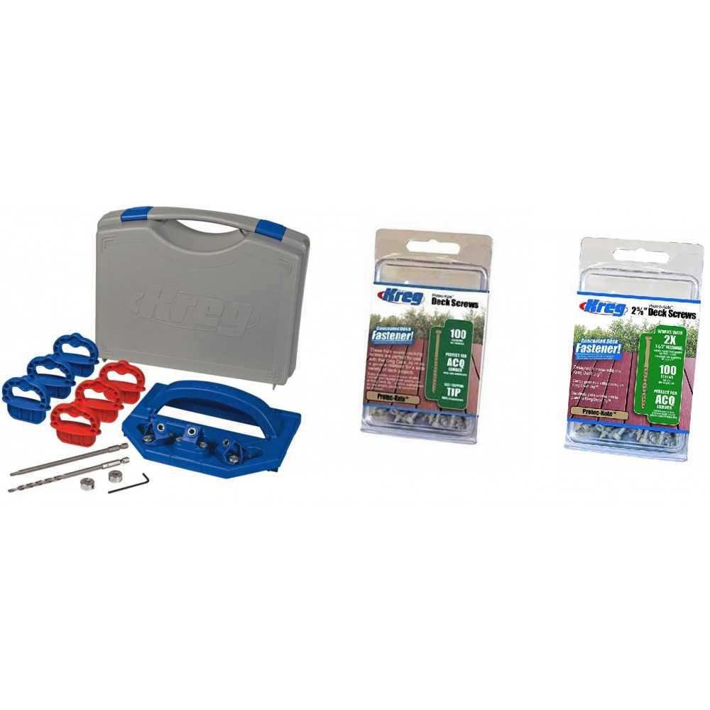 """Kit Carpintería Guía para instalar Terrazas + 100 Tornillos Hilo Grueso 2"""" + 100 Tornillos Hilo Grueso 2-5/8"""" Kreg Kit 15"""