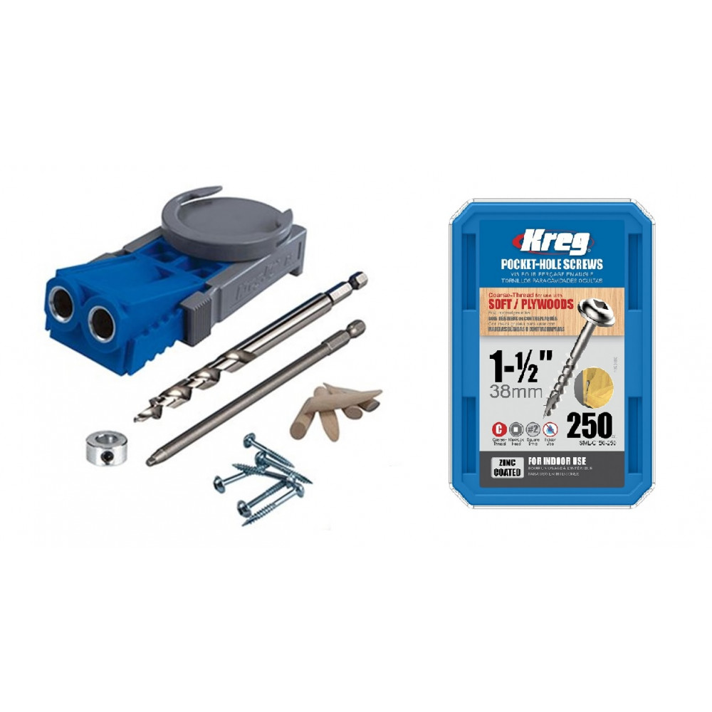 "Kit Carpintería Guía de perforación R3 y Caja de 250 Tornillos grueso 1-1/2"" SML-C150-250 Kreg Kit 13"