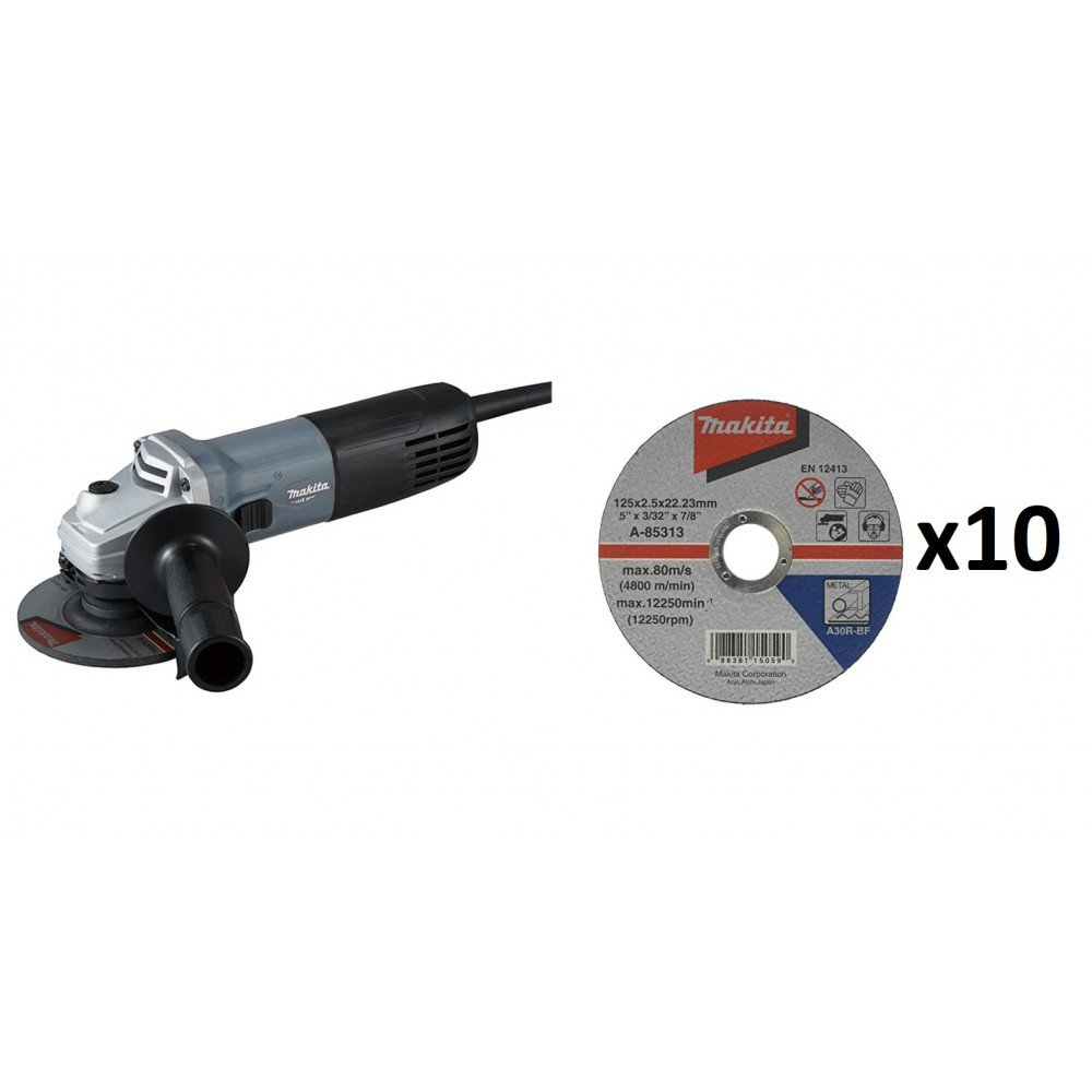 "MT Esmeril Angular 4-1/2"" 850W + 10 Discos de Corte Metal Makita M9510 + B-46408"