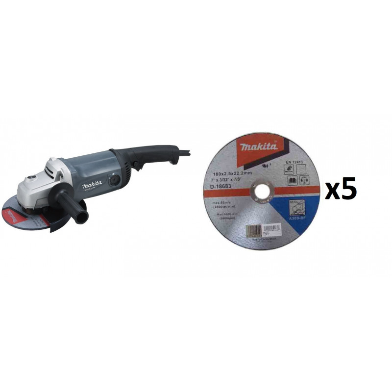 "MT Esmeril Angular 7"" (180 mm) 2.200W + 5 Discos de Corte Metal Makita M0920G + B-46420"