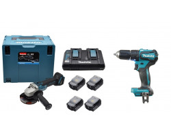"""Esmeril Angular 18V BL Motor 4-1/2"""" DGA454 + Taladro Percutor 18V DHP483 + 4 Baterías 18V 3.0Ah + Cargador Doble Makita 198823-7"""