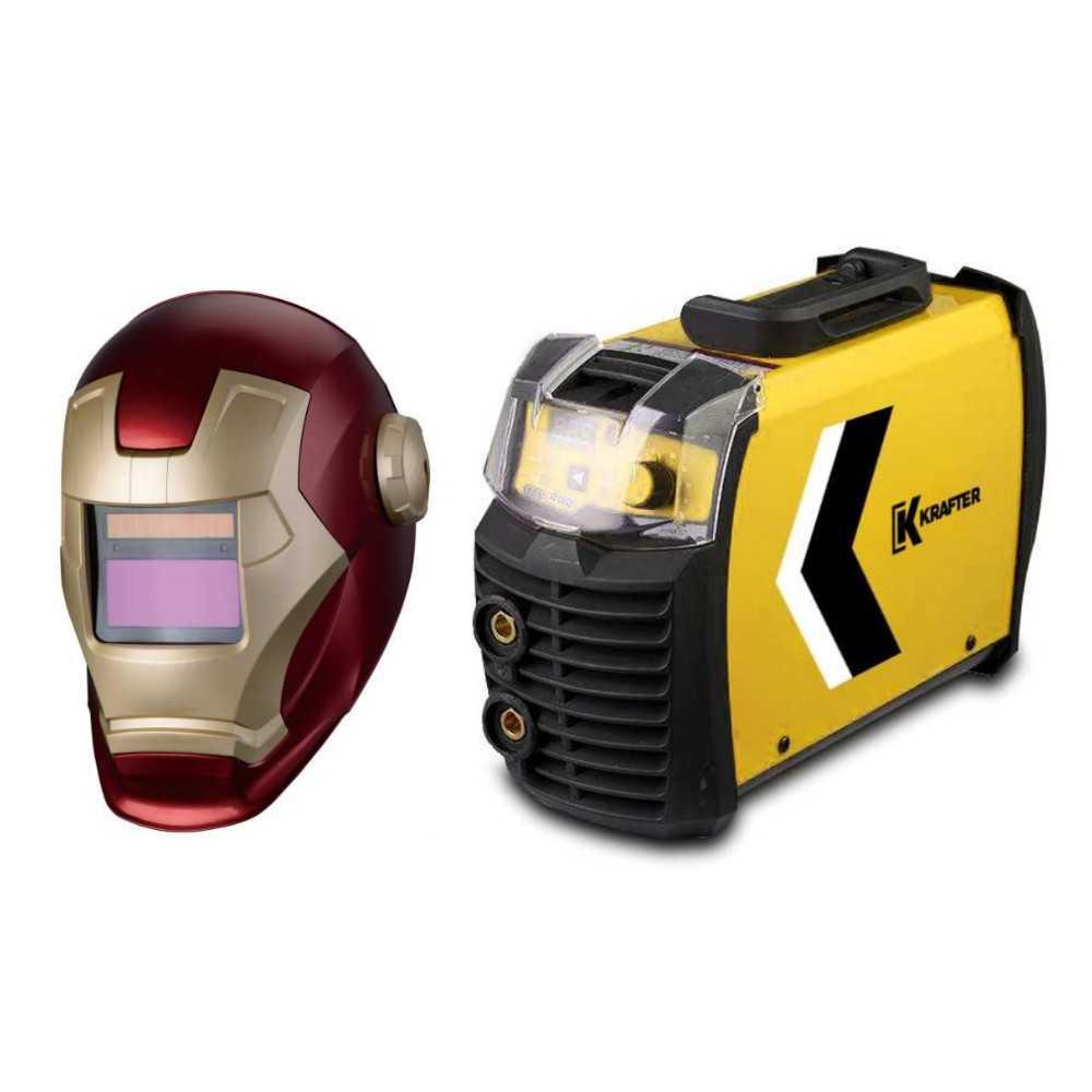 Soldadora Invertig 200A Krafter 200-PRO + Mascara Ironman Fotosensible Krafter 4446000000200