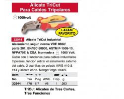 Alicate Aislado Cortante y Pelacable Tricut 1000V 170mm Wiha 32944