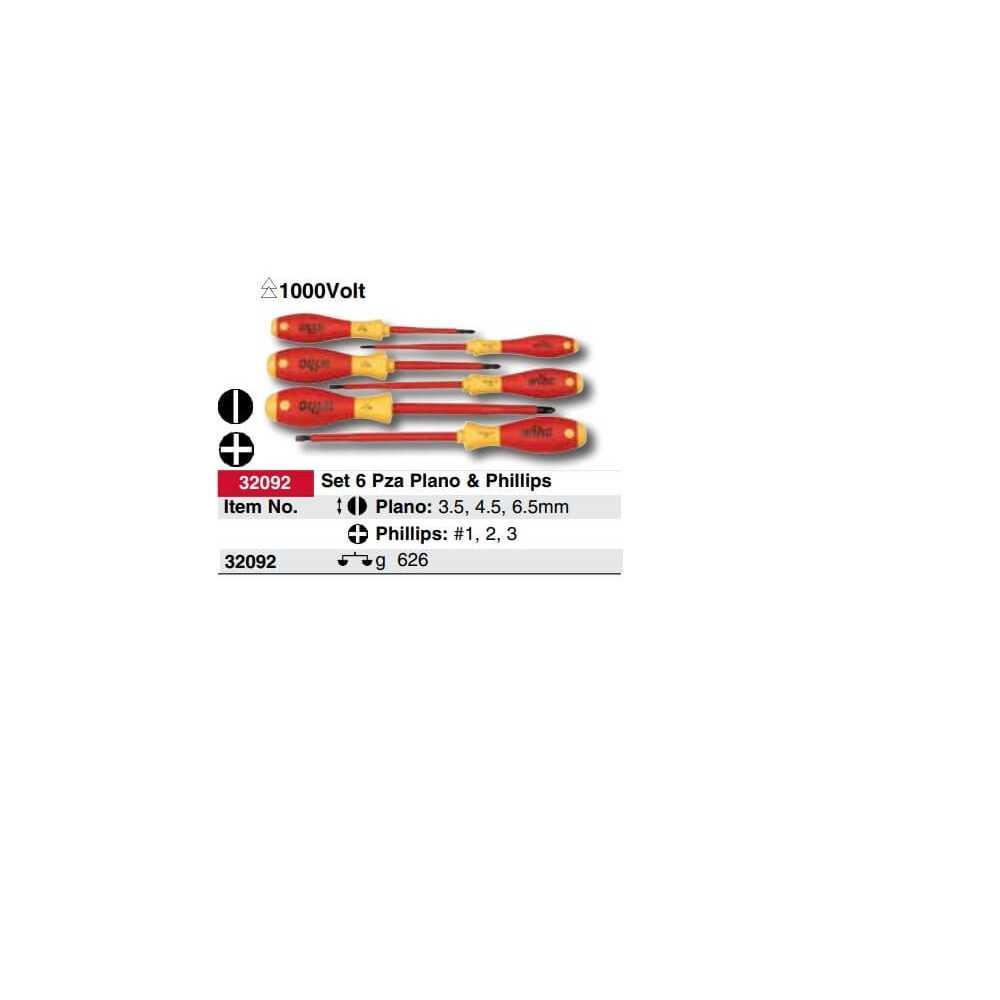 Set Atornilladores Aislados 6 pzs a 1000V (3 paleta y 3 PH) Wiha 32092