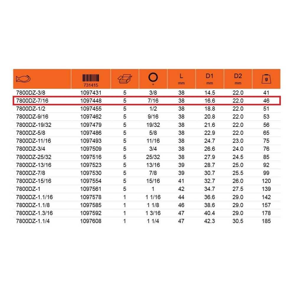 """Dado Poligonal 1/2"""" x 7/16"""" Bahco 7800DZ-7/16"""