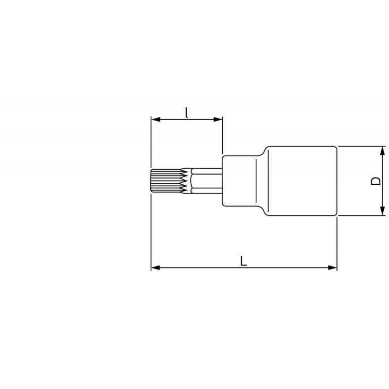 "Dado Destornillador Poligonal Punta XZN 1/2"" x 8 mm x 100 mm Bahco 7809XZN-8-100"