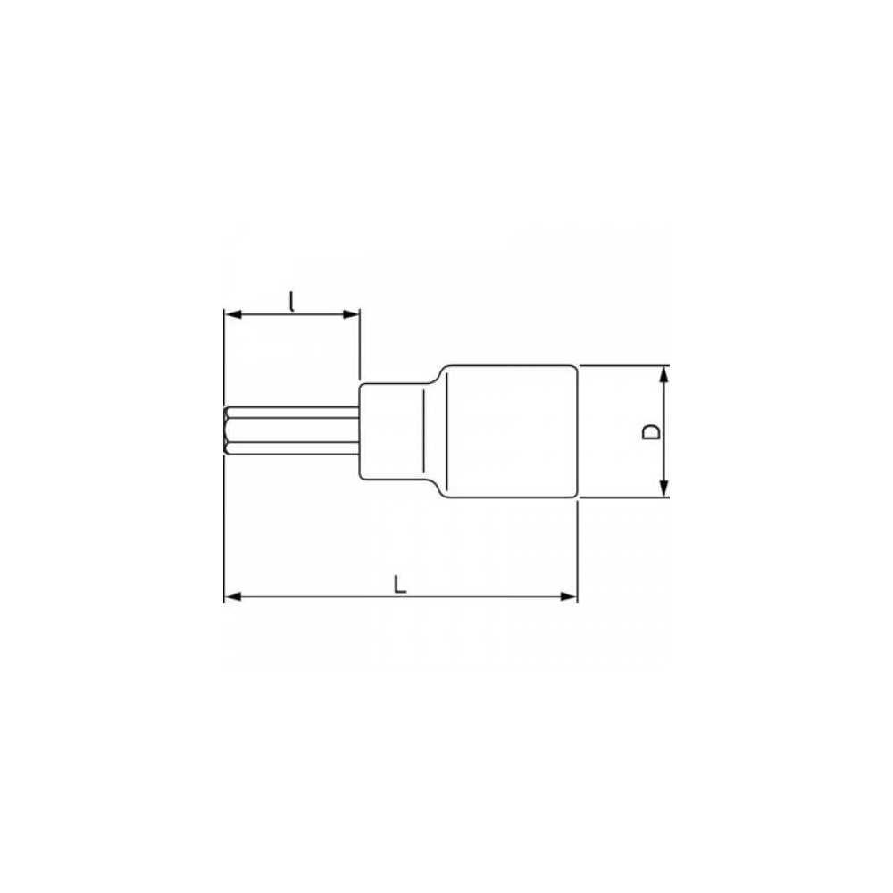 "Dado Destornillador Hexagonal 1/2"" x 10 mm x 140 mm Bahco 7809M-10-140"