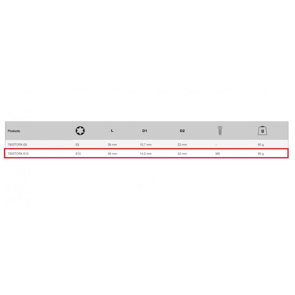 """Dado TORX-E 1/2"""" x 10 mm Hembra Bahco 7800TORX-E10"""