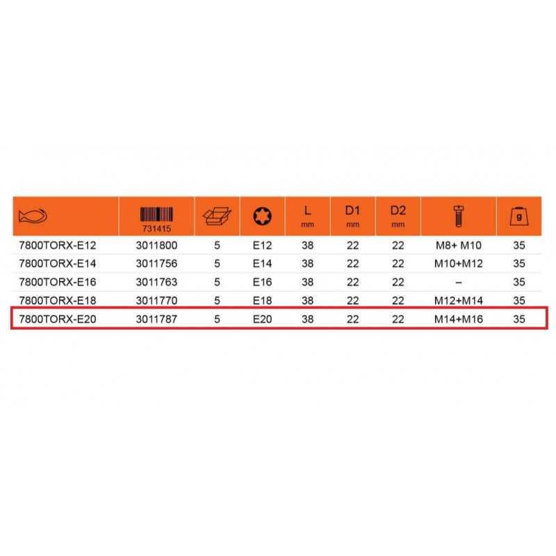 """Dado TORX-E 1/2"""" x 20 mm Hembra Bahco 7800TORX-E20"""