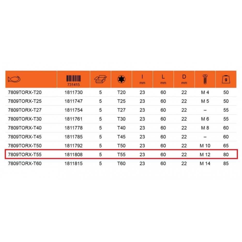 "Dado Destornillador TORX 1/2"" x T55 Bahco 7809TORX-T55"