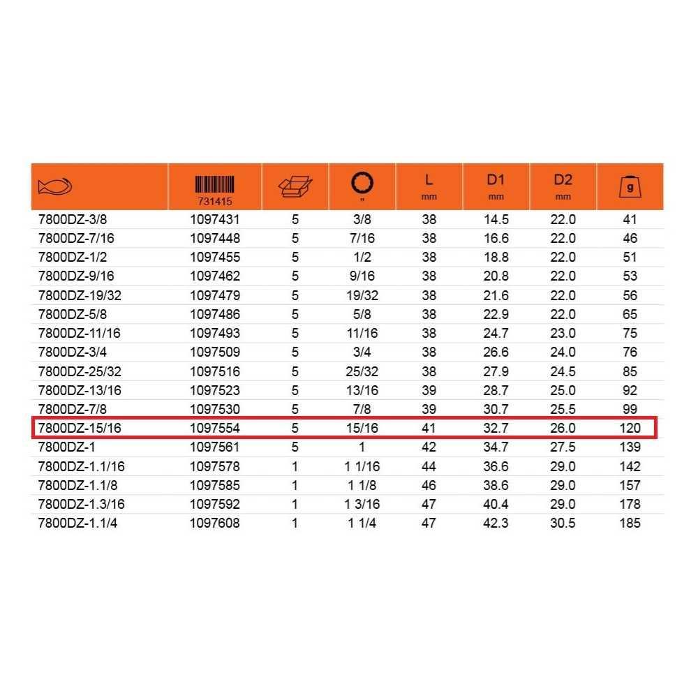 """Dado Poligonal 1/2"""" x 15/16"""" Bahco 7800DZ-15/16"""