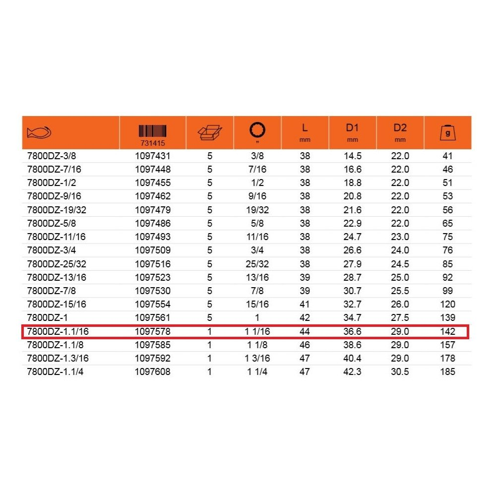 """Dado Poligonal 1/2"""" x 1.1/16"""" Bahco 7800DZ-1.1/16"""