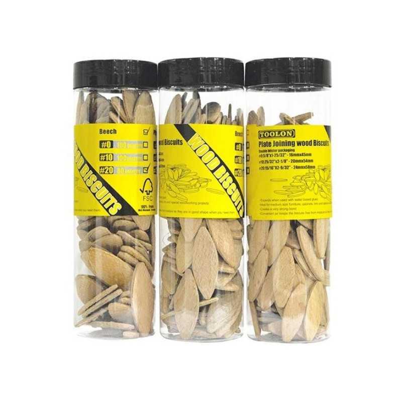 Kit Carpintería Galletas  N° 0 (caja 150 u) + Galletas N°10 (caja 100 u) + Galletas N°20 (Caja 80 u) Toolon Kit 15