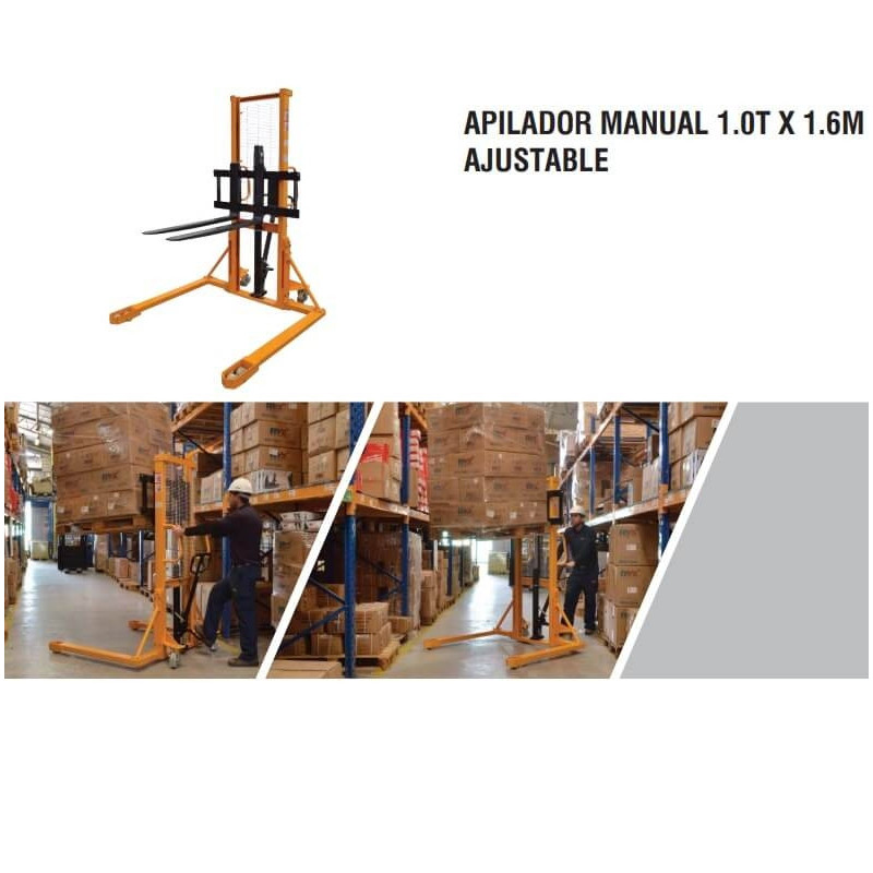 Apilador Manual 1.0 T x 1.6 M Ajustable Itaka SDJSA1000