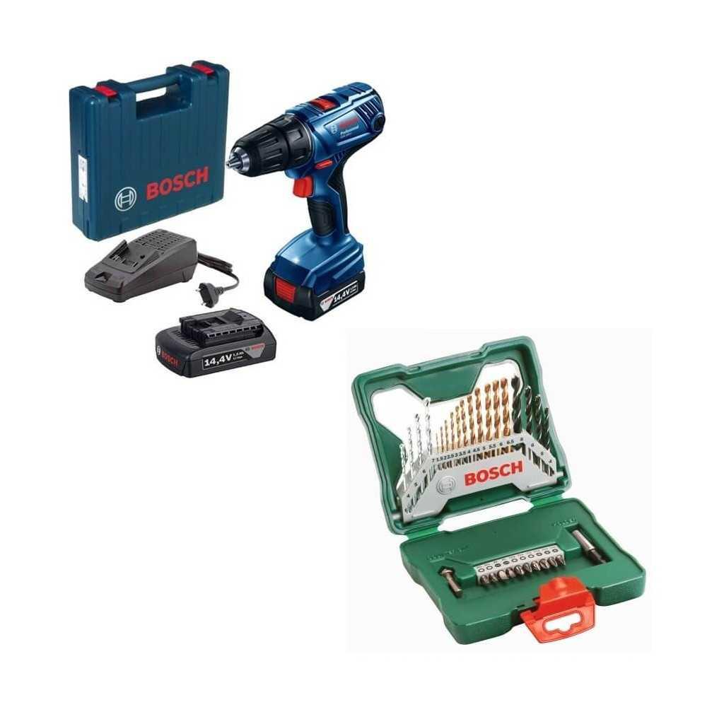 Kit Cyberday Taladro Atornillador Inalámbrico GSR 140-LI + Set X-LINE 30 pzs Bosch 0601.9F8.0N0-000