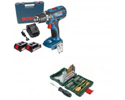 Kit Cyberday Taladro Atornillador GSR 18-2-LI PLUS+Set Puntas y Brocas 40 Pzs Bosch 0601.9E6.1E0-000