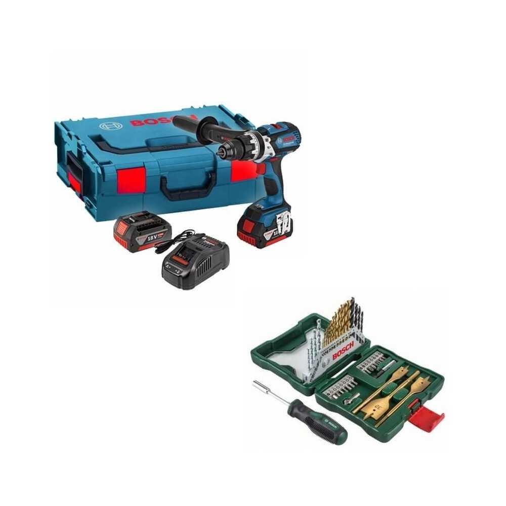 Kit Cyberday Taladro de Percusión GSB 18 VE-EC+Set Puntas y Brocas 40 Pzs Bosch 0601.9F1.3E0-000
