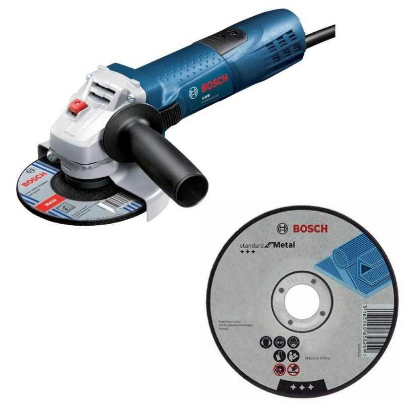 "Kit Cyberday Esmeril Angular 4 1/2"" GWS 7-115 TE + 5 Discos Corte Recto 4 1/2"" Bosch 0601.388.5N1-000"