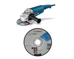 """Kit Cyberday Esmeril Angular 7"""" GWS 20-180 + 5 Discos Corte Recto 7""""x7/8"""" Bosch 0601.8B7.0N0-000"""