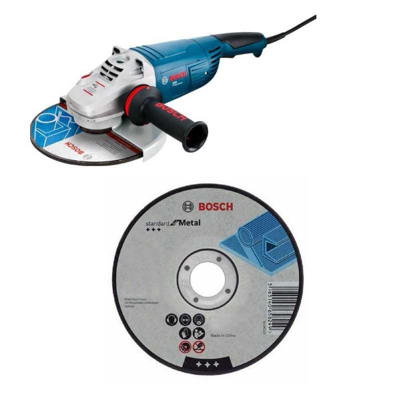 """Kit Cyberday Esmeril Angular 7"""" GWS 22-180 + 5 Discos Corte Recto 7""""x7/8"""" Bosch 0601.8A1.0N0-000"""
