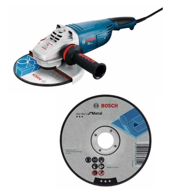 """Kit Cyberday Esmeril Angular 9"""" GWS 22-230 + 5 Discos Corte Recto 9""""x7/8"""" Bosch 0601.8A2.0N0-000"""
