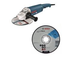 """Kit Cyberday Esmeril Angular 9"""" GWS 24-230+ 5 Discos Corte Recto 9""""x7/8"""" Bosch 0601.8A4.0N0-000"""