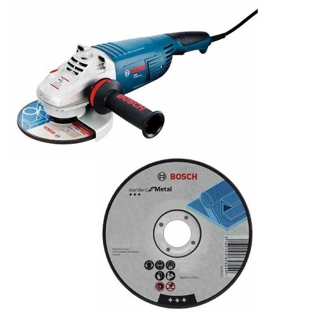 """Kit Cyberday Esmeril Angular 7"""" GWS 26-180 + 5 Discos Corte Recto 7""""x7/8"""" Bosch 0601.8A5.0N0-000"""
