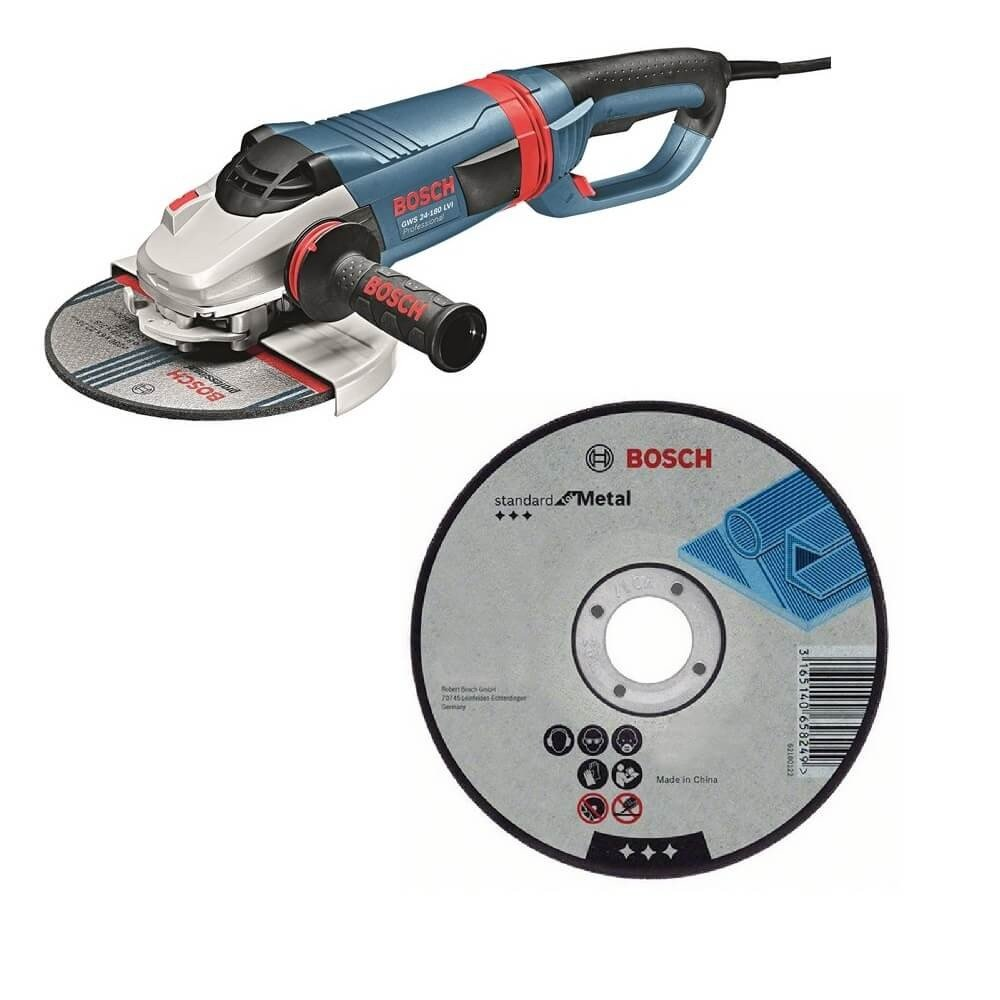 "Kit Cyberday Esmeril Angular 7"" GWS 24-180 LVI + 5 Discos Corte Recto 7""x7/8"" Bosch 0601.892.HN0-000"
