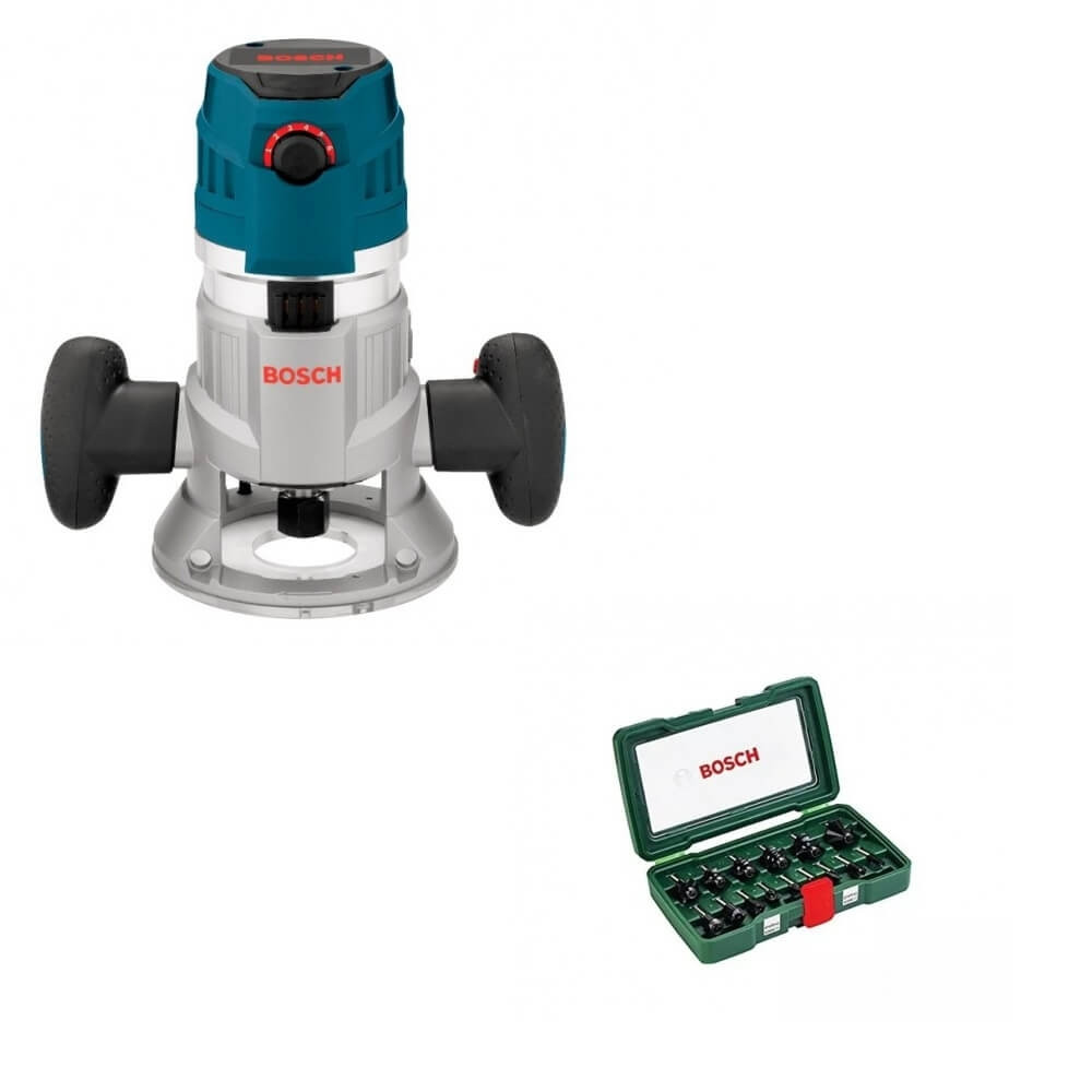 Kit Cyberday Fresadora Constante GFF 1600 CE+Set de Fresa 15 pzs 2607019468 Bosch 0601.624.0E1-000