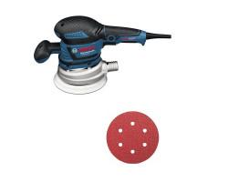 Kit Cyberday Lijadora Excéntrica 150mm GEX 125-150 AVE + Set 5 Discos de Lijas GR120 Bosch 0601.37B.1N0-000