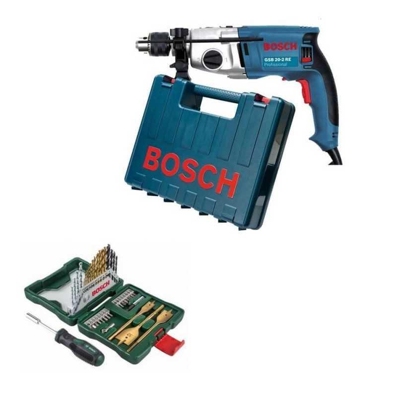 Kit Cyberday Taladro Percusión 800 W GSB 20-2 RE+Set Puntas y Brocas 40 Pzs Bosch 0601.1A2.1E1-000