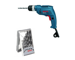 Kit Cyberday Taladro Rotación 350 W GBM 6 RE+Set Brocas para Madera 7 pzs Bosch 0601.472.6E0-000